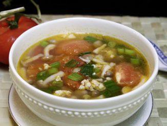 Canh nấm nấu thịt nạc xay và cà chua 8